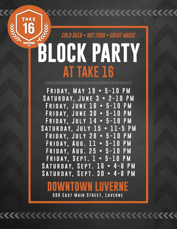 2017 Block Party Schedule