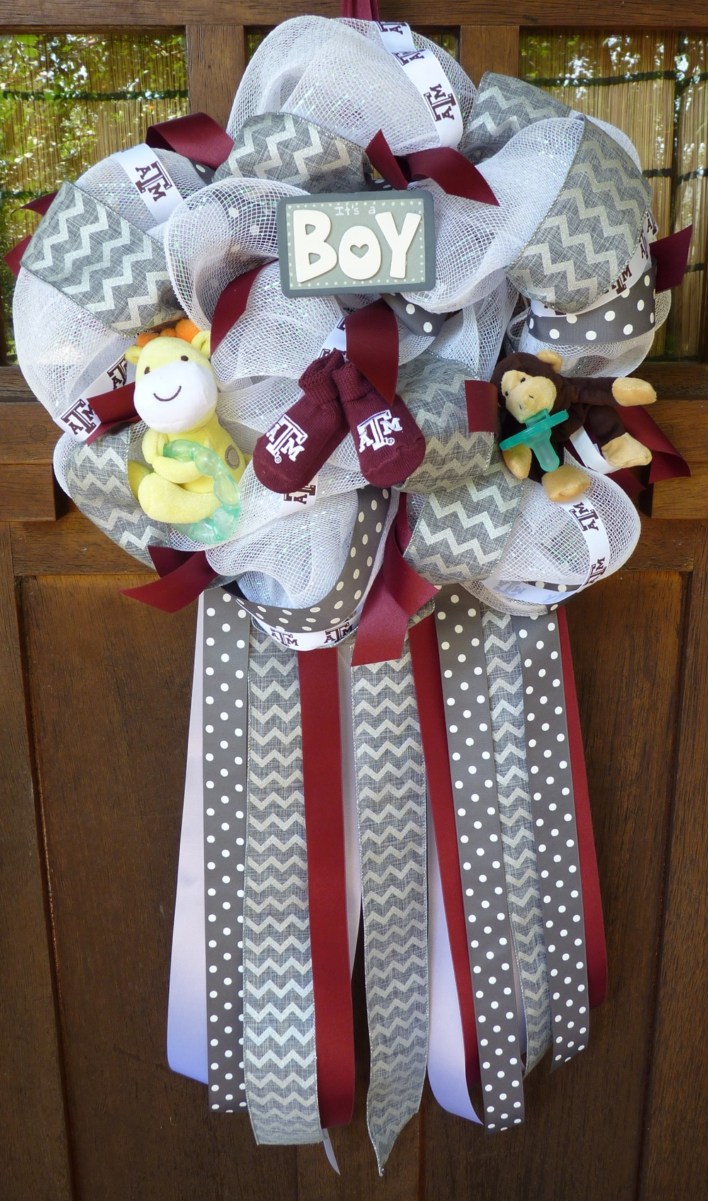 It's An Aggie Boy Wreath with hanging ribbon