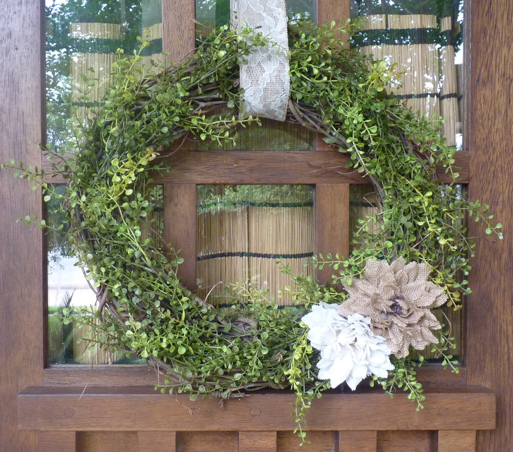 Greenery And Burlap Flower Wreath