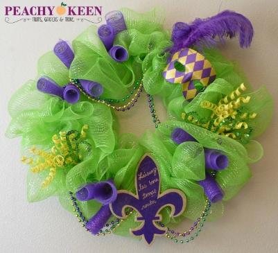 Mardi Gras Mesh Wreath