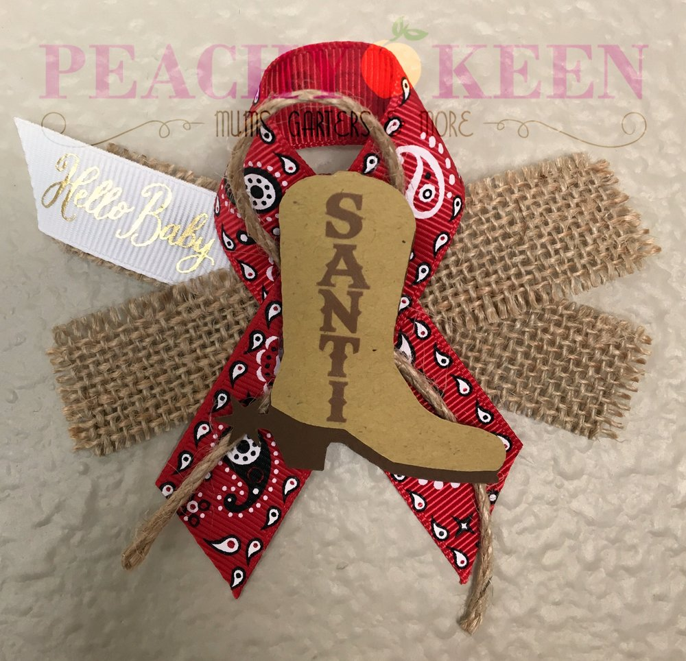 Cowboy baby shower guest pin capia