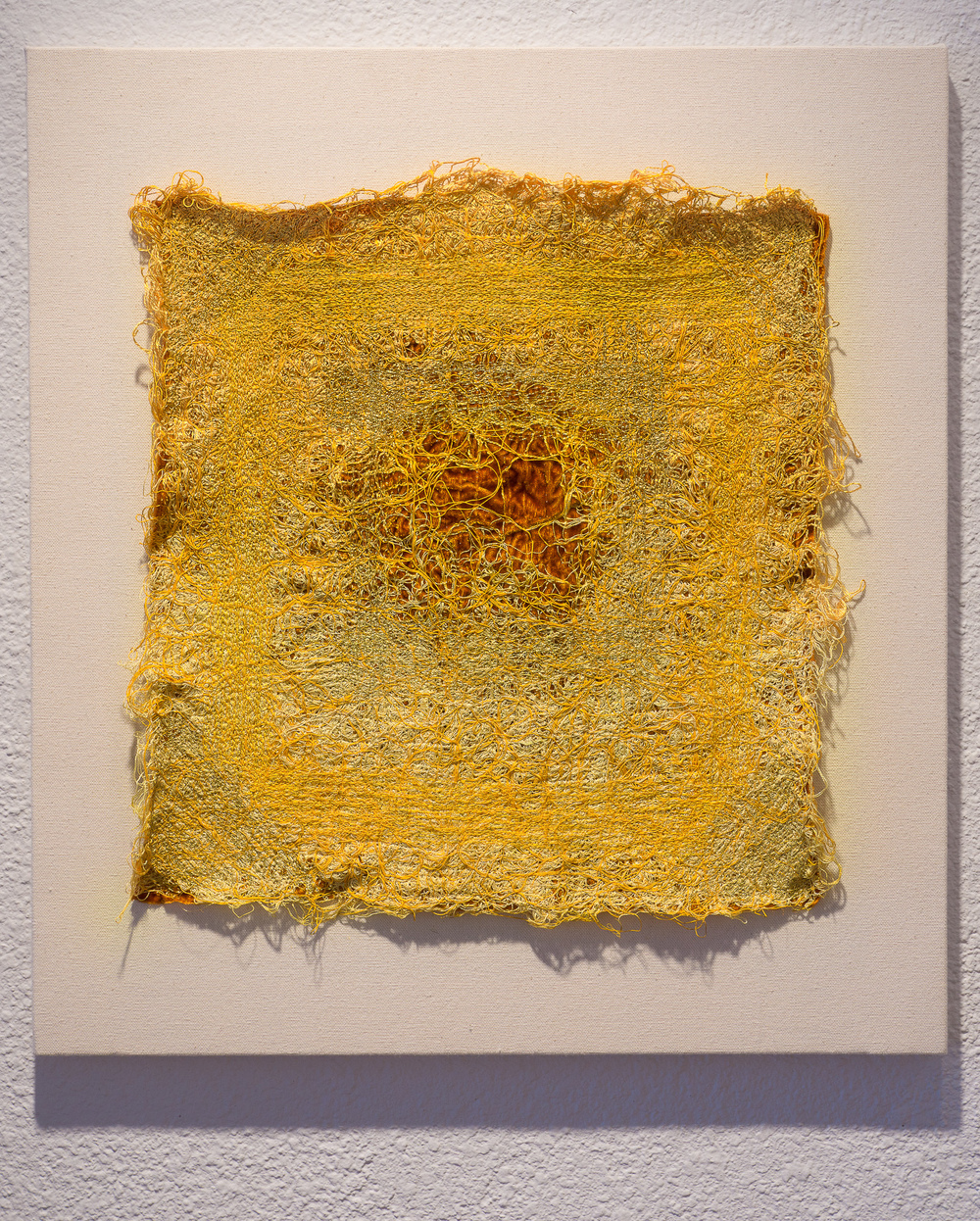 "Forms of Arrangement: of surfeit - 2014, velvet, silk, gold threads. 22"" x 20""."
