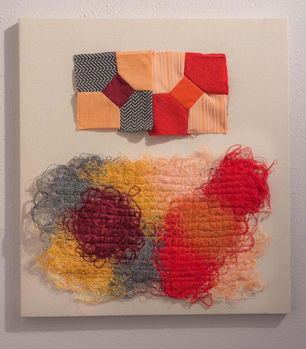 "Sketch VI - 2014, found quilt blocks, string painting. 22"" x 20""."