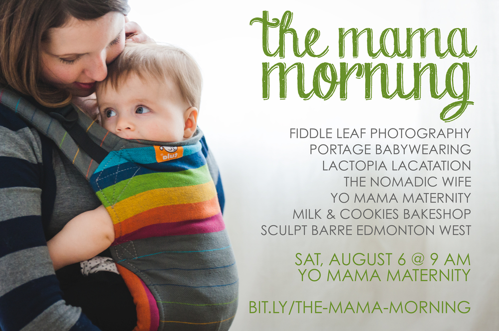 "Photo by Fiddle Leaf Photography - Click to enlarge and view full poster [Image: A woman with brown shoulder length hair wearing a grey and black striped long sleeve shirt wears her child in a Tula buckle carrier that is grey with rainbow stripes. On the right side of the photo, ""The Mama Morning"" is written as well as the names of participating businesses.]"