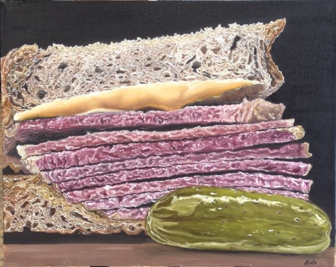 pastrami on rye. oil on canvas. 16x20.jpg