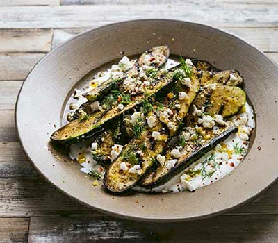 Grilled Zucchini with Yogurt Sauce, Feta, Lemon & Dill