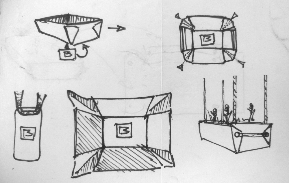 Ideation Sketches: The folding pattern was inspired one night by a to-go box from dinner.