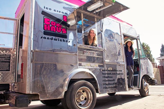 Meet Coolhaus Founders Natasha Case (left) and Freya Estreller (right) on their Coolhaus truck in Los Angeles, Ca.  All images c/o Coolhaus.
