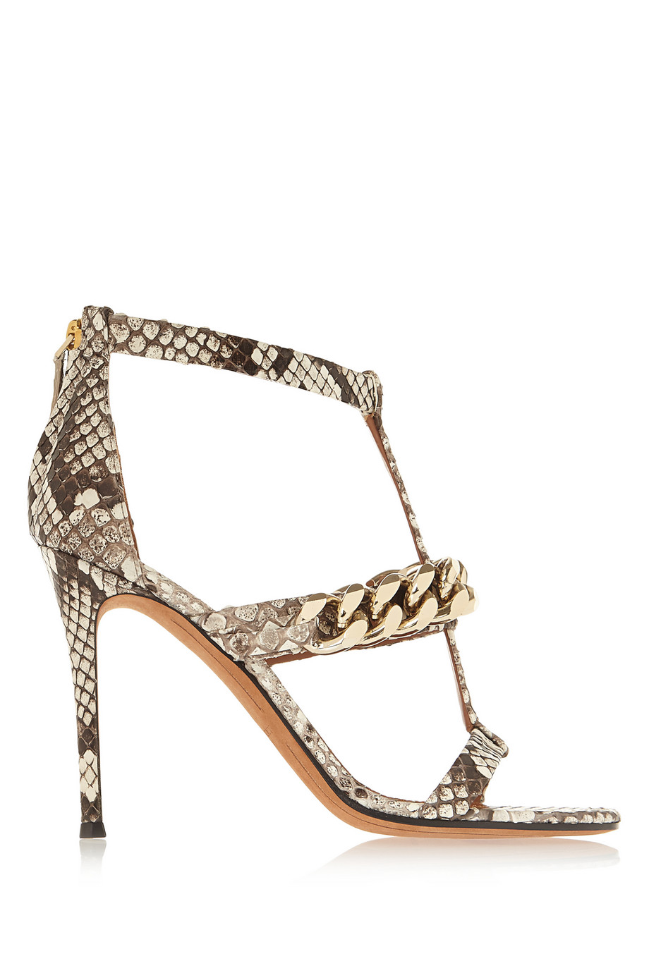 Python Sandals with Gold Chain via
