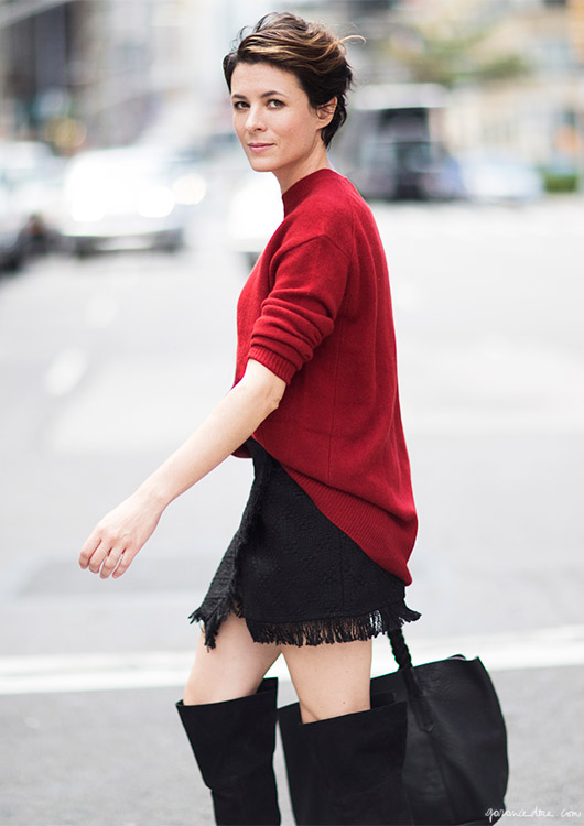 Garance Doré is photographed on the streets of New York City during a photo shoot with Zara.