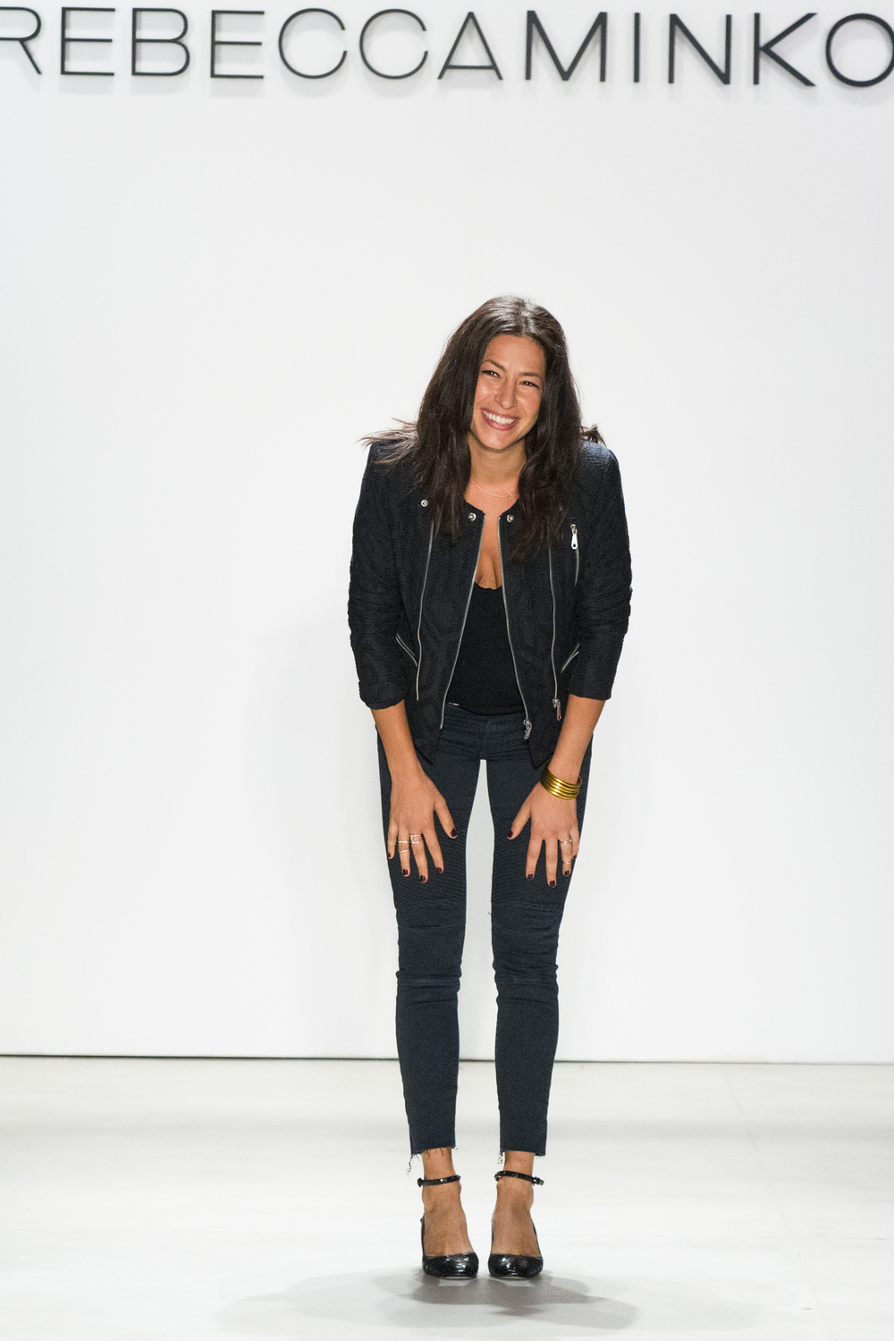 Rebecca Minkoff taking a bow at the end of her New York Fashion Week Spring-Summer 2016 show.
