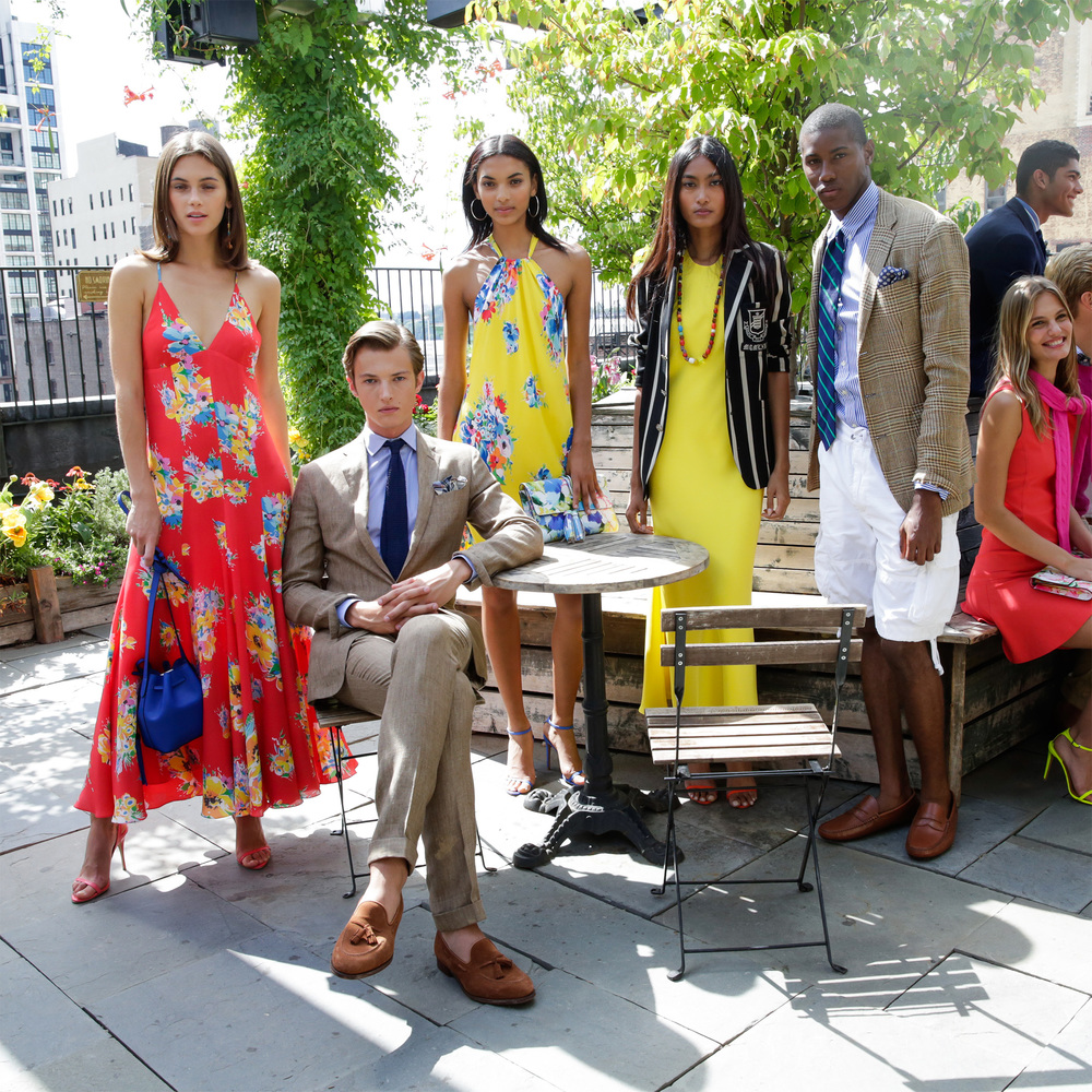 Models posing at the Spring 2016 POLO Ralph Lauren presentation. Image via Ralph Lauren.