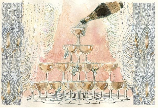 🍸🍸🍸 Drink up ladies-- you deserve it! Happy New Years, love Team #CollegeLivingMag - - - #happynewyear #champagne #illustration #newyearnewme #rosé #southbeach #tumblr #🍸#thatsdarling #watercolor