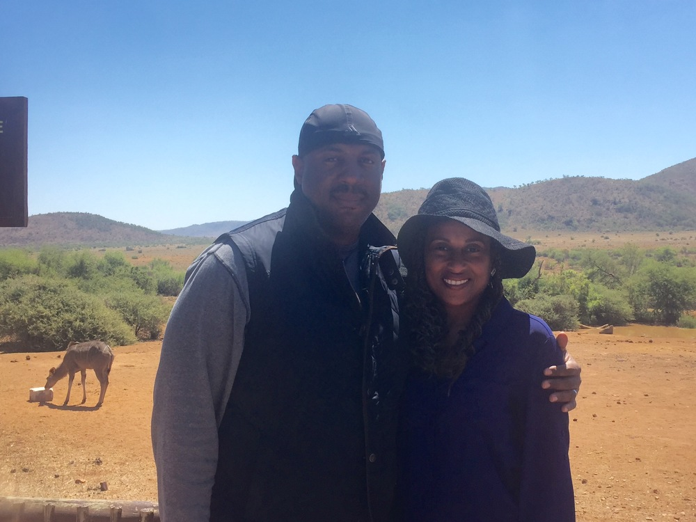 nadeen and her husband in south africa