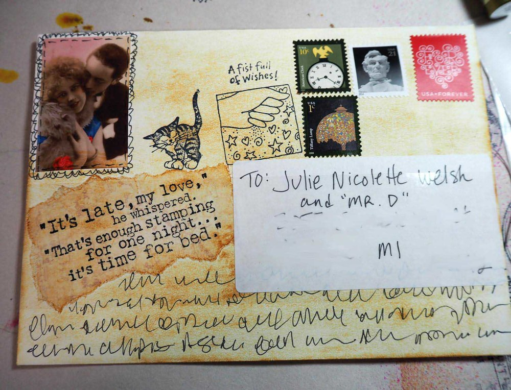 A bit more Asemic Writing on the mail art envelope too.
