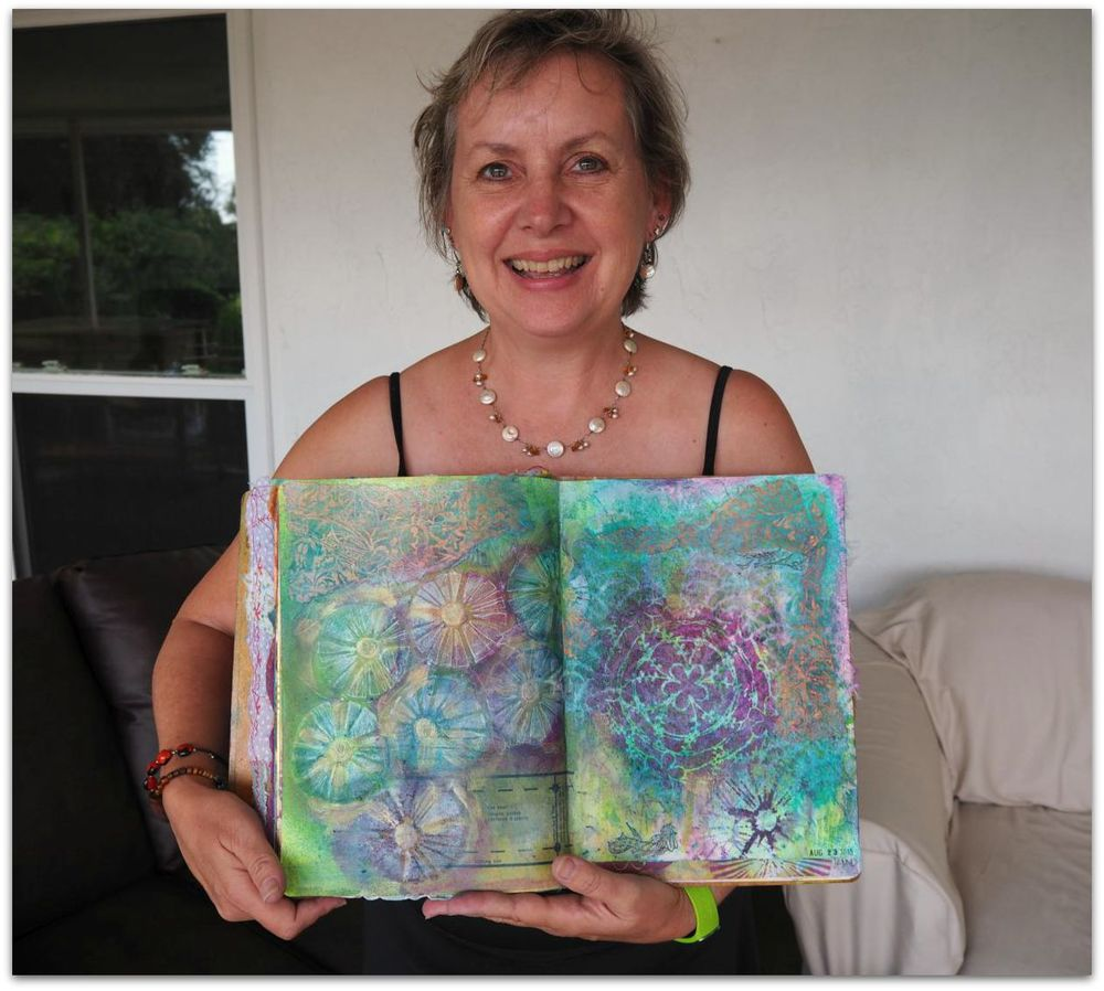 Steven took a couple of pics of me with my finished journal spread ;0 )