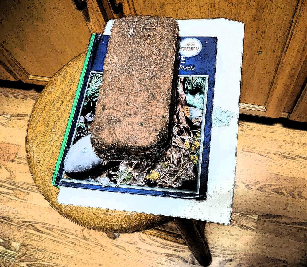 Prepping one of my books and weighing it down with a brick!