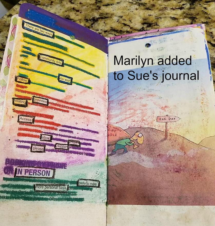 Marilyn working in Sue's Journal