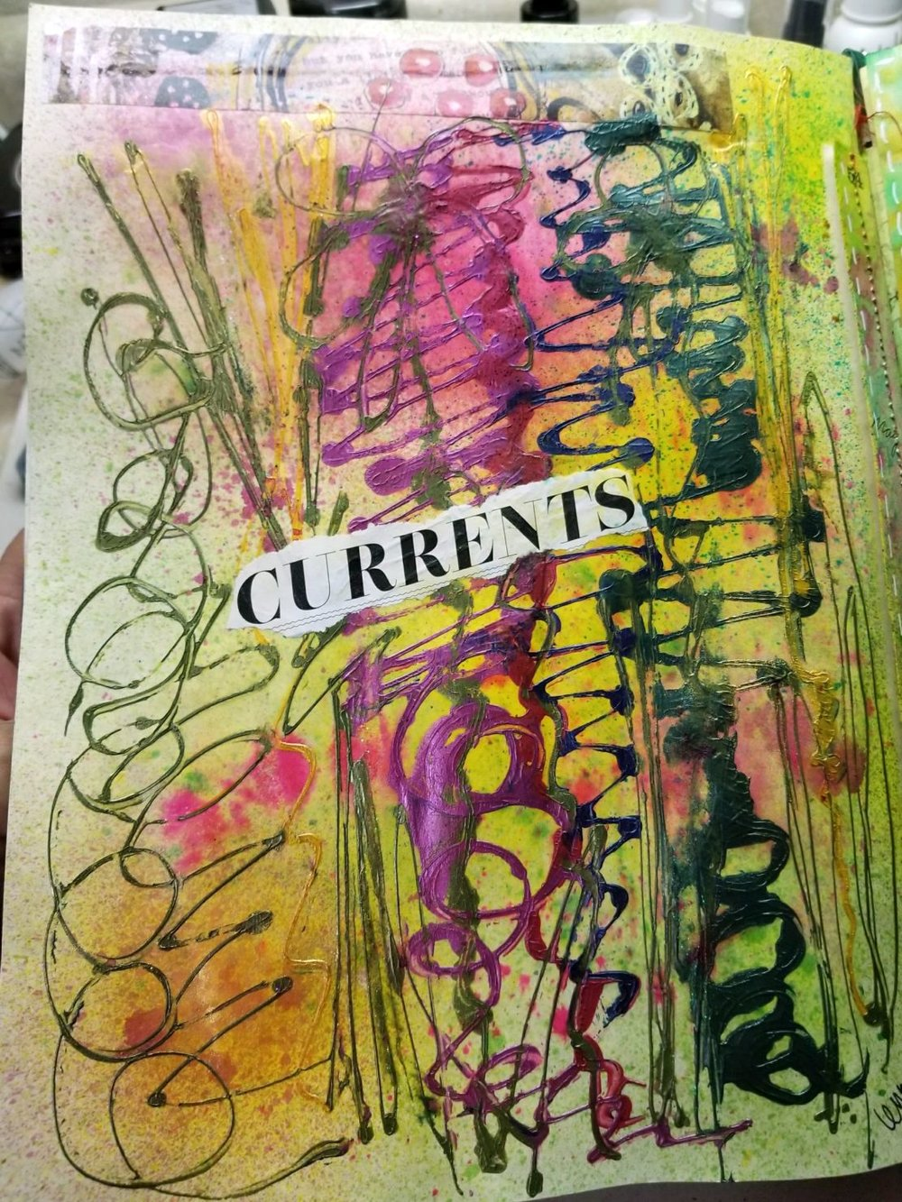 spray inks & collage added