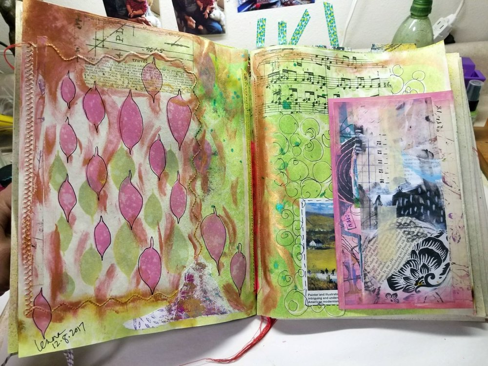 """stenciling and collage with """"art pops"""""""