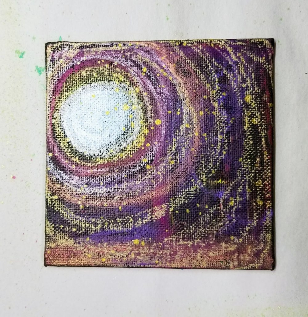 02. oil pastels + spray ink (gold)