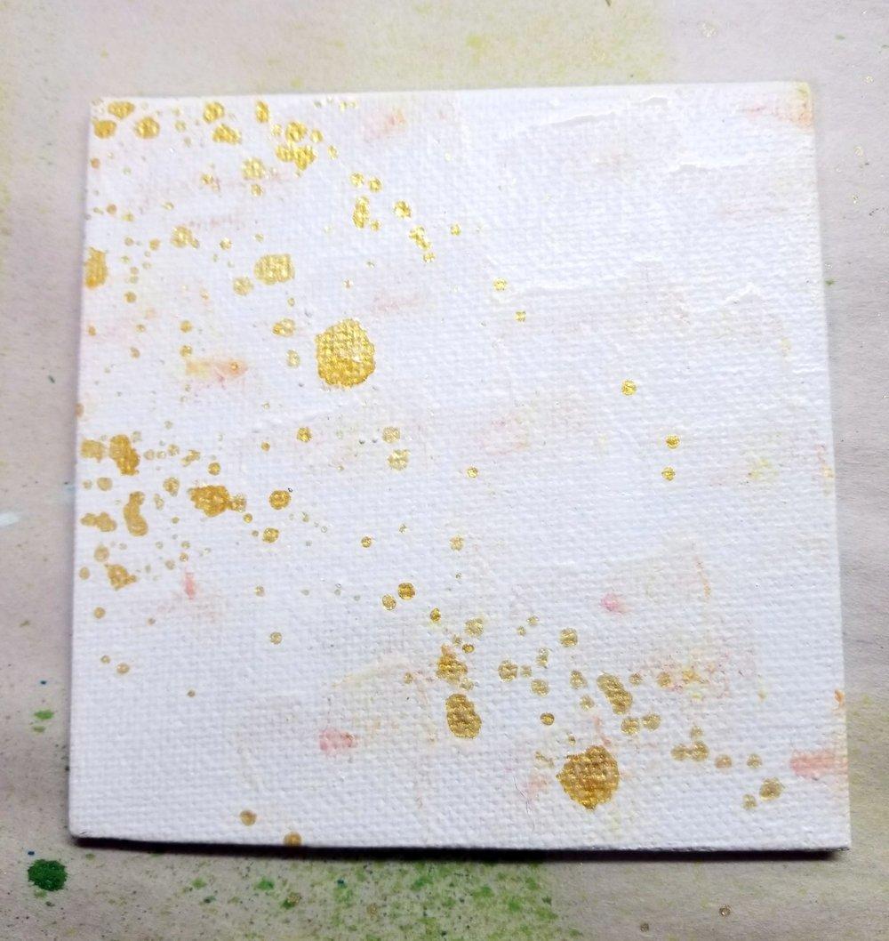 05. gesso, gold spray ink