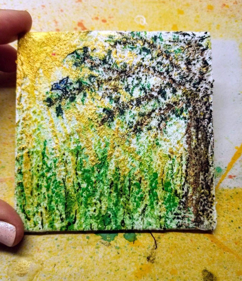 11. chalk & oil pastels, acrylic paint