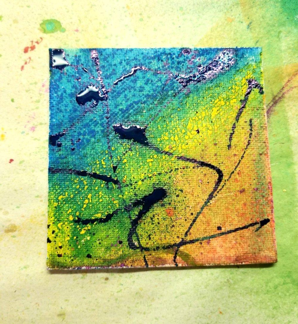 adding acrylic paint (spray)