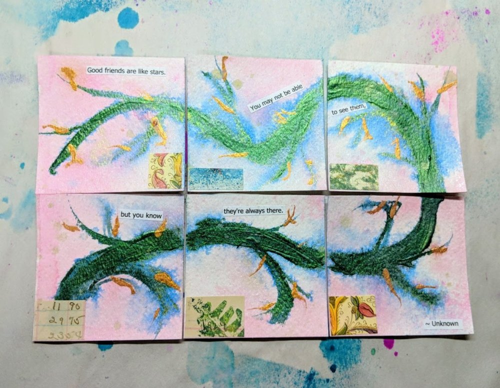 365somethings2018:  #204-#209 (3x3 watercolor cards)