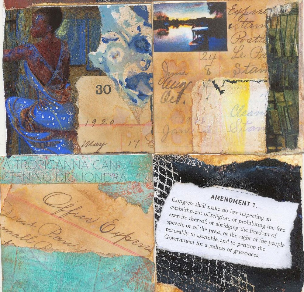 """#320 - #323: 3""""x3"""" watercolor cards / collage and gelli print scraps"""