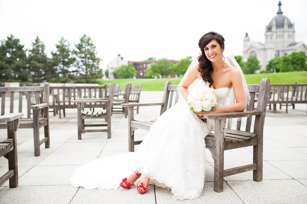Bride with white peony bridal bouquet and red shoes.jpg