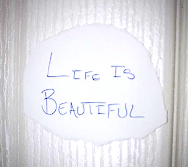 "Ben was challenged to write a ""Life is ____"" affirmation and post it where he would see it daily.  He shared this picture with the other players in their Facebook group after the game."