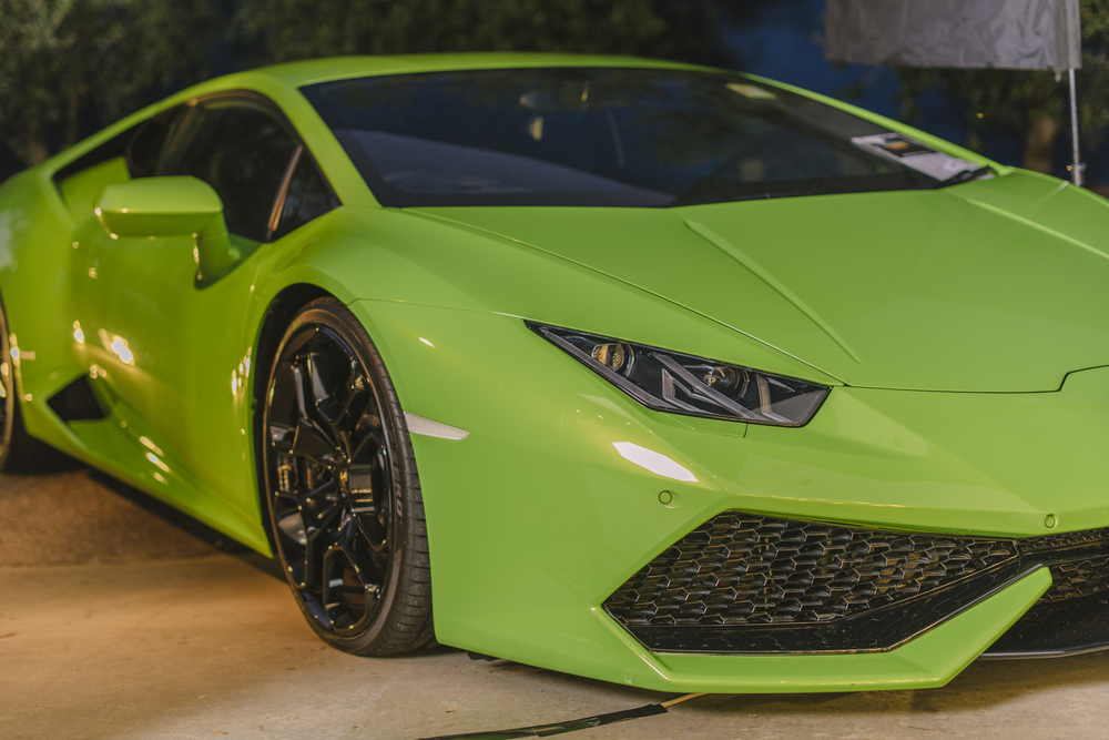 LAMBORGHINI HURACAN SPYDER at Carillon City presents AMERICAN GIGOLO : In lime green, this super-sleek, streamlined model looked picture-perfect against out American Gigolo palm tree back drop. Top GERE indeed...
