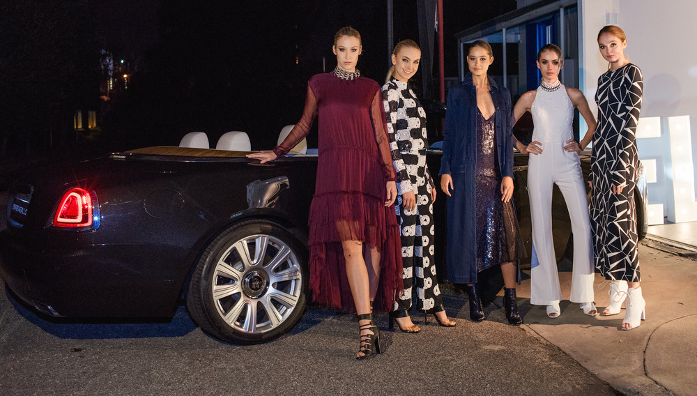 Models in Manning Cartell A/W 2016, with the brand new, stunningly gorgeous Rolls Royce Dawn from Barbagallo Motors Perth.