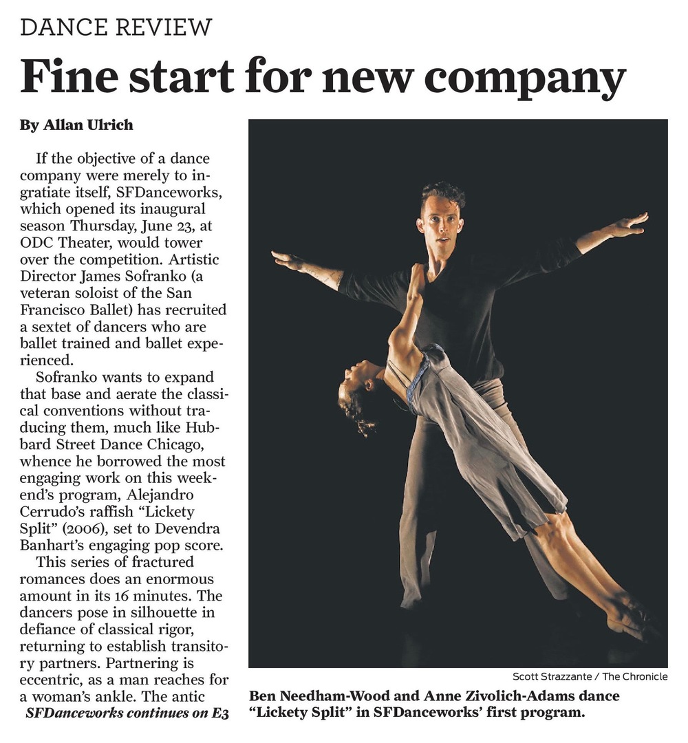 SFDanceworks review in the San Francisco Chronicle. June 25th, 2016.   Click to read the full article.
