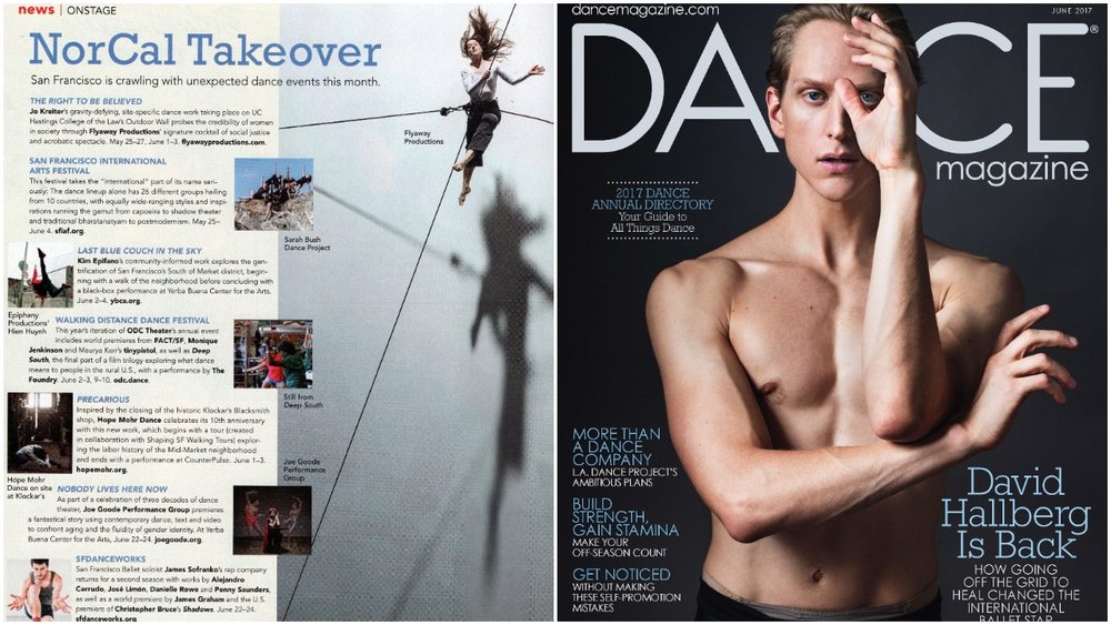 SFDanceworks Season Two featured in the June 2017 issue of Dance Magazine.