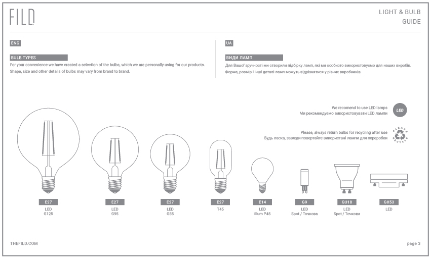 BULBS & LIGHT GUIDE - We have created this Light Bulb Guide with general technical information to help you choose the correct light source for FILD products.