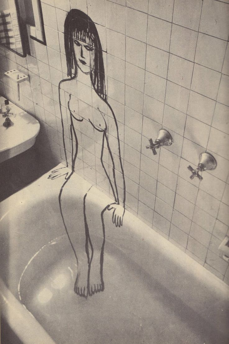 Saul Steinberg bathroom illustration