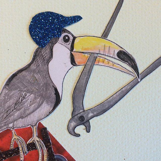 Haps! # Tukan med #papegøjetang #texogjack #illustration #collage #grønnekødby #armedwithscissors #vigørkødbyensjovere #toucan