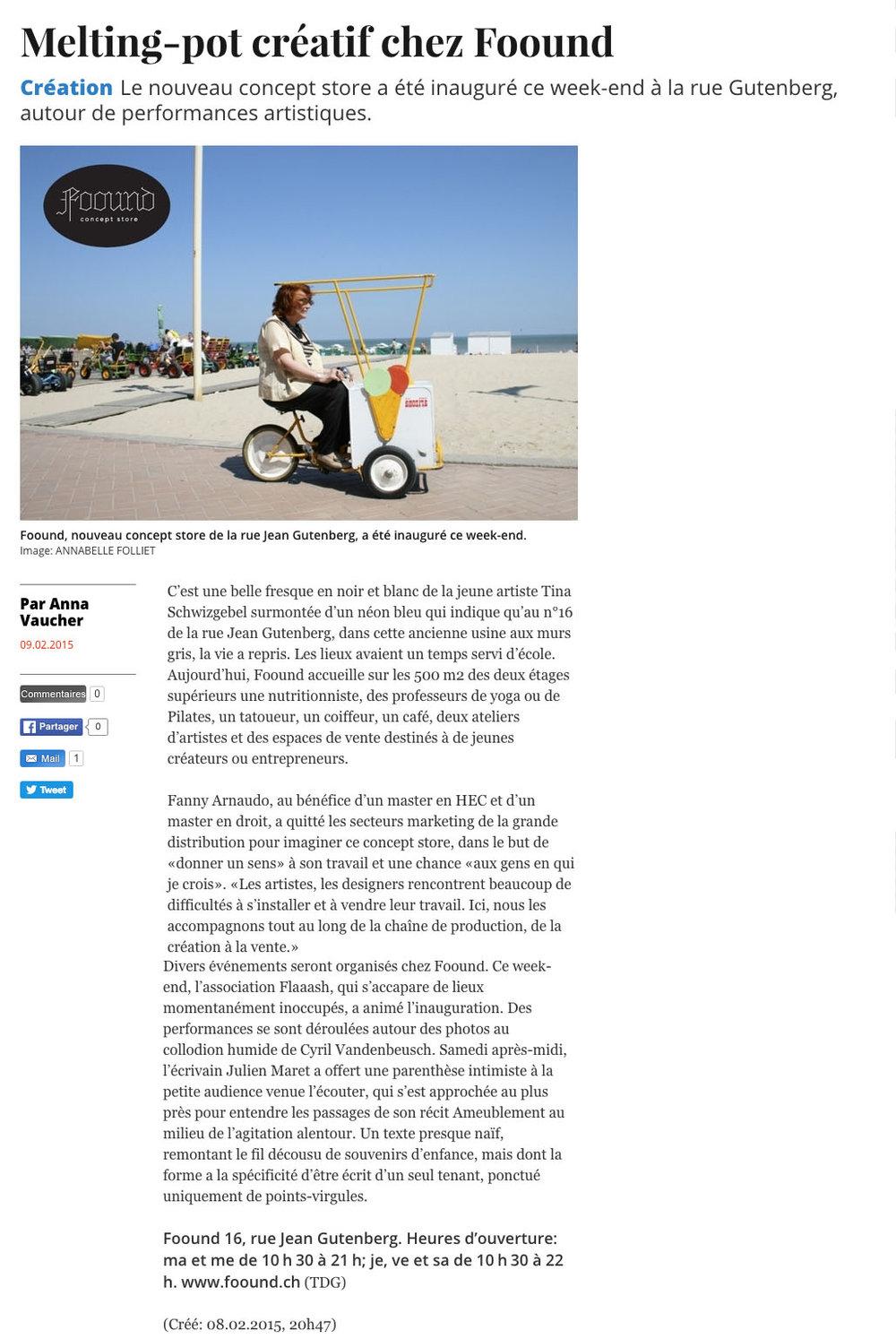 La Tribune de Genève // 9 février 2015