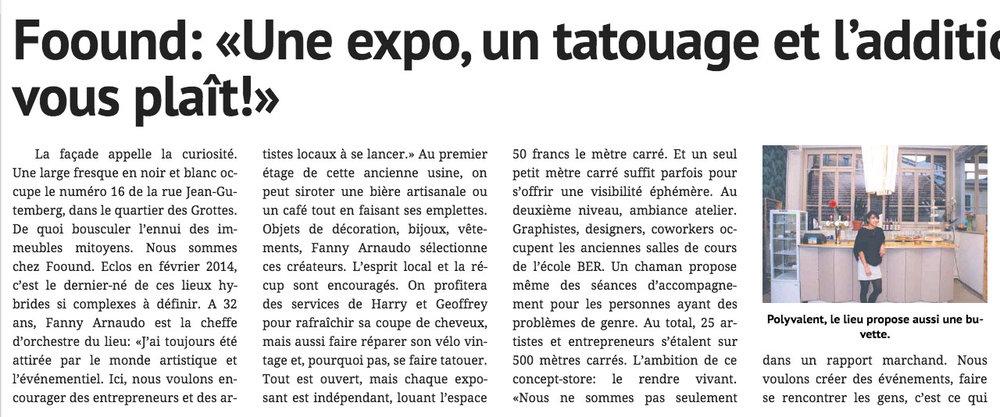La Tribune de Genève // 7 novembre 2015