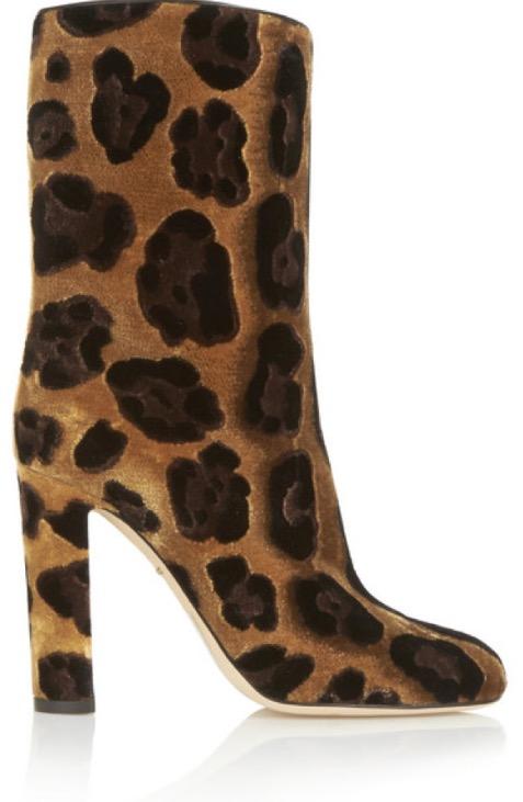 DOLCE & GABBANA Leopard-print velvet boots