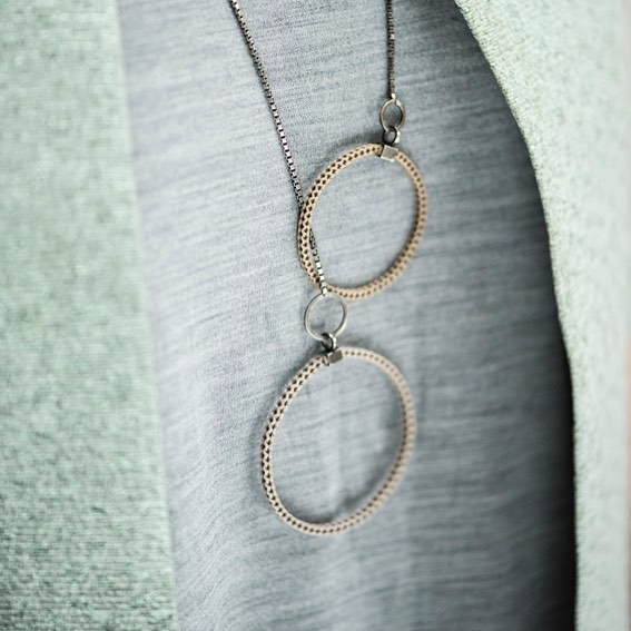 • circle of friends, no 1 • still my fave! The first prototype of the circle of friends necklace with bleached hair from my nieces. The oxidized silver is a bit worn off and i love the look of it, like a pair of jeans that aged well. Yes!