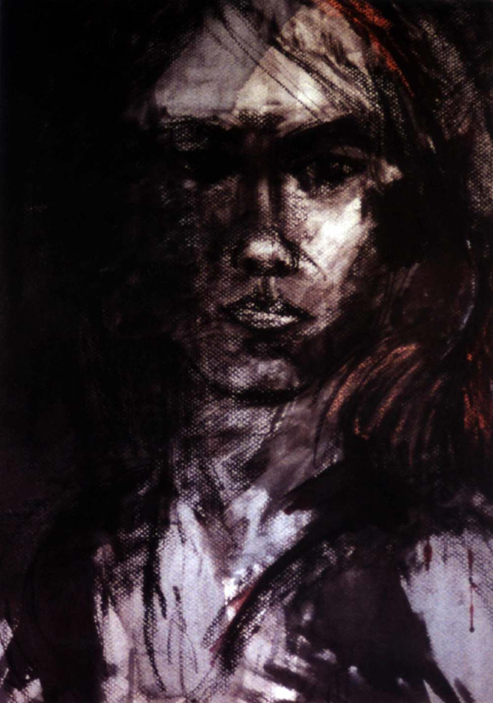 self portrait. charcoal and pastel on paper. from my archives.