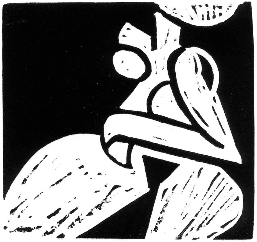 Silhouette. Linocut. From my archives.