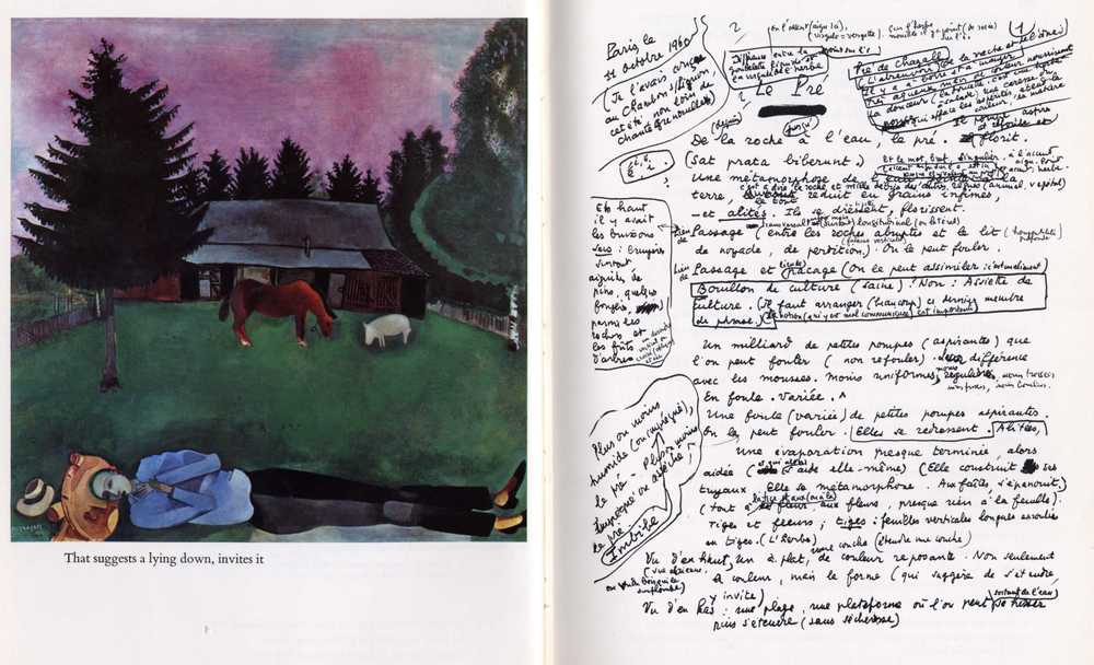 Spread from The Making of the Pré by Francis Ponge.