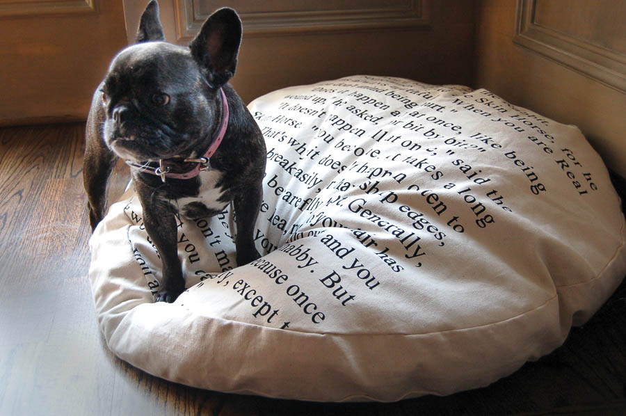 Dog Bed with Velveteen Rabbit Quote
