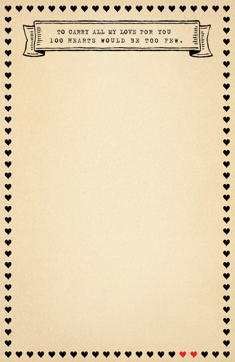 100 Hearts Notepad