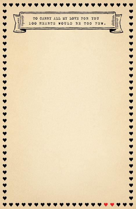 100 Hearts Notepad