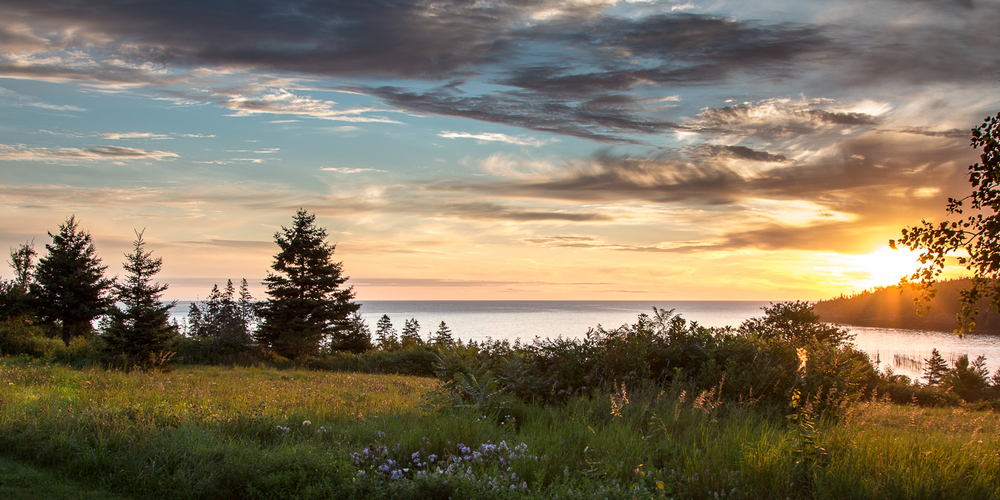 """First Light, a Grand Manan Morning"" inkjet print, pano 14""H x 24""W"